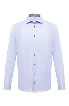 Мужская хлопковая сорочка ETON голубого цвета, арт. 1000 02443 | Фото 1 (Материал внешний: Хлопок; Случай: Формальный; Манжеты: На пуговицах; Рубашки М: Slim Fit; Рукава: Длинные; Принт: Однотонные; Воротник: Акула; Стили: Классический; Длина (для топов): Стандартные)