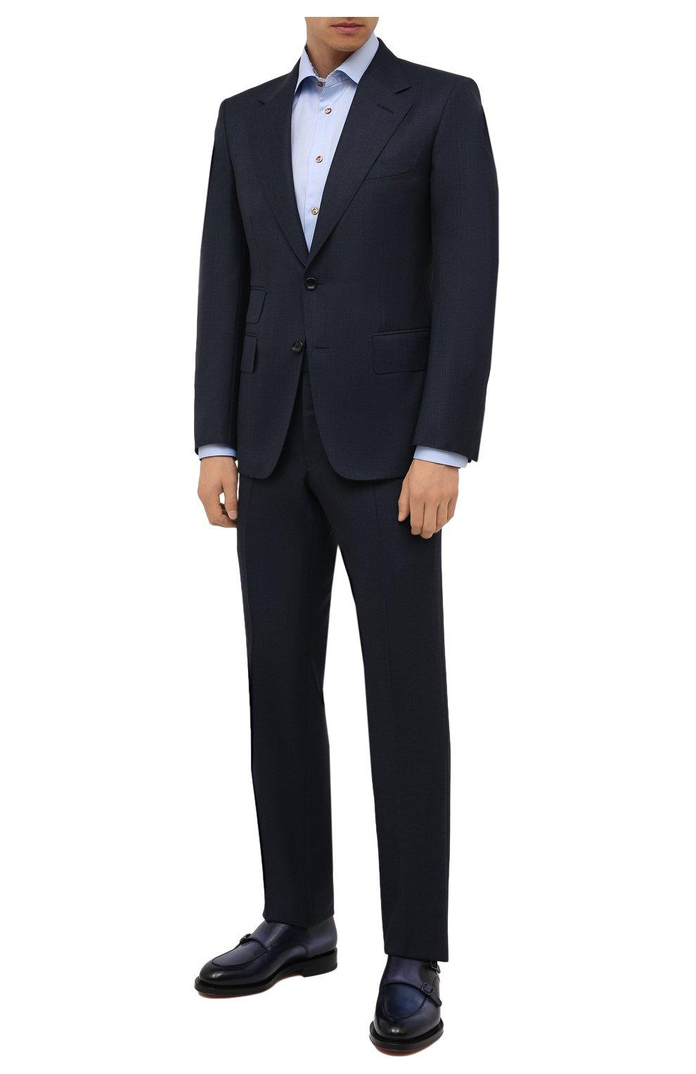 Мужская хлопковая сорочка ETON голубого цвета, арт. 1000 02443   Фото 2 (Манжеты: На пуговицах; Рукава: Длинные; Воротник: Акула; Длина (для топов): Стандартные; Рубашки М: Slim Fit; Материал внешний: Хлопок; Стили: Классический; Случай: Формальный; Принт: Однотонные)