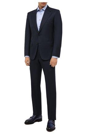 Мужская хлопковая сорочка ETON голубого цвета, арт. 1000 02443 | Фото 2 (Материал внешний: Хлопок; Случай: Формальный; Манжеты: На пуговицах; Рубашки М: Slim Fit; Рукава: Длинные; Принт: Однотонные; Воротник: Акула; Стили: Классический; Длина (для топов): Стандартные)