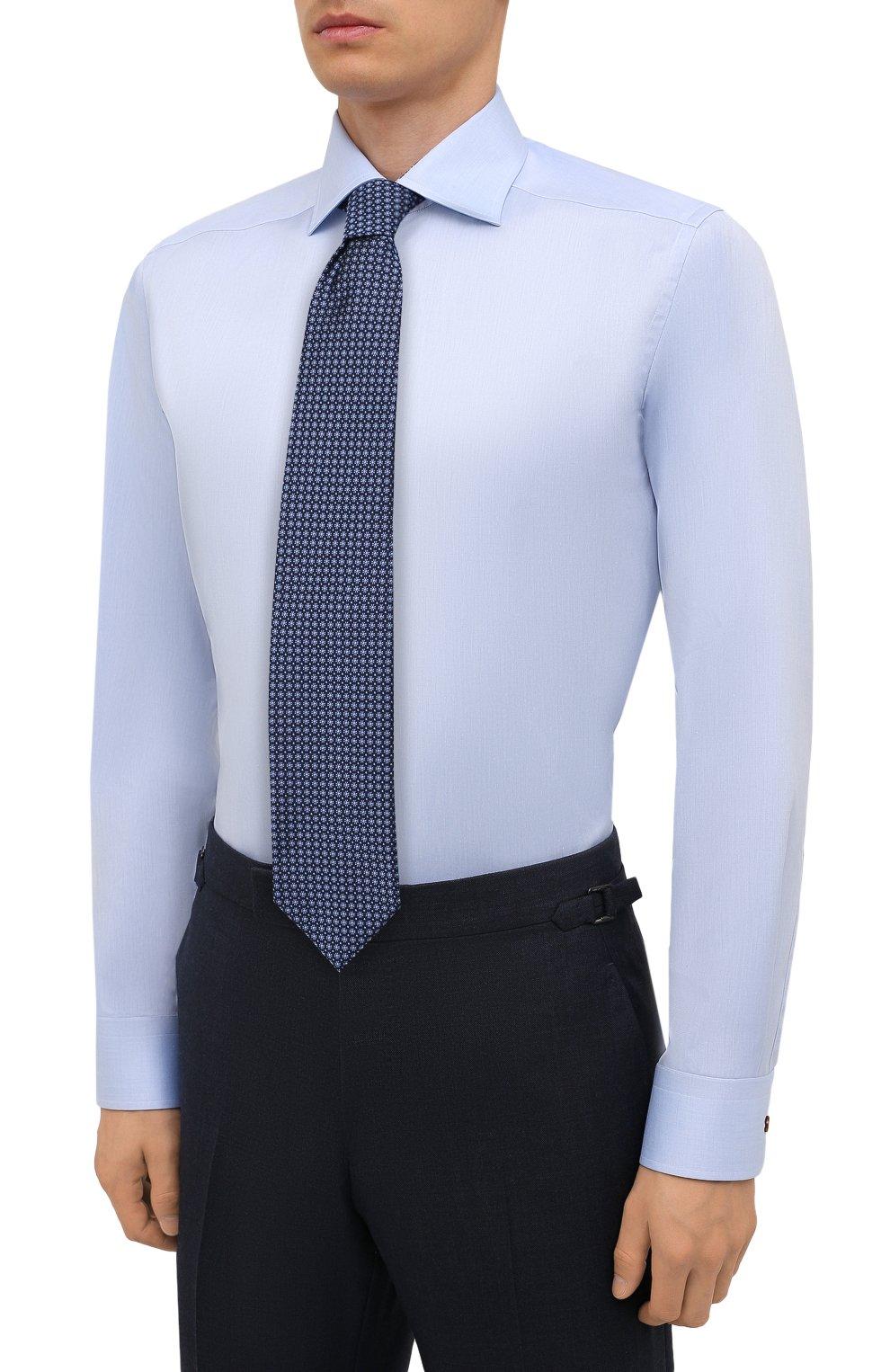 Мужская хлопковая сорочка ETON голубого цвета, арт. 1000 02443   Фото 4 (Манжеты: На пуговицах; Рукава: Длинные; Воротник: Акула; Длина (для топов): Стандартные; Рубашки М: Slim Fit; Материал внешний: Хлопок; Стили: Классический; Случай: Формальный; Принт: Однотонные)
