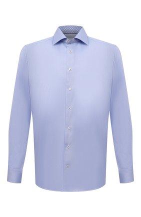 Мужская хлопковая сорочка ETON голубого цвета, арт. 1000 02446 | Фото 1 (Материал внешний: Хлопок; Случай: Формальный; Манжеты: На пуговицах; Рубашки М: Regular Fit; Рукава: Длинные; Принт: Однотонные; Воротник: Акула; Стили: Классический; Длина (для топов): Стандартные)
