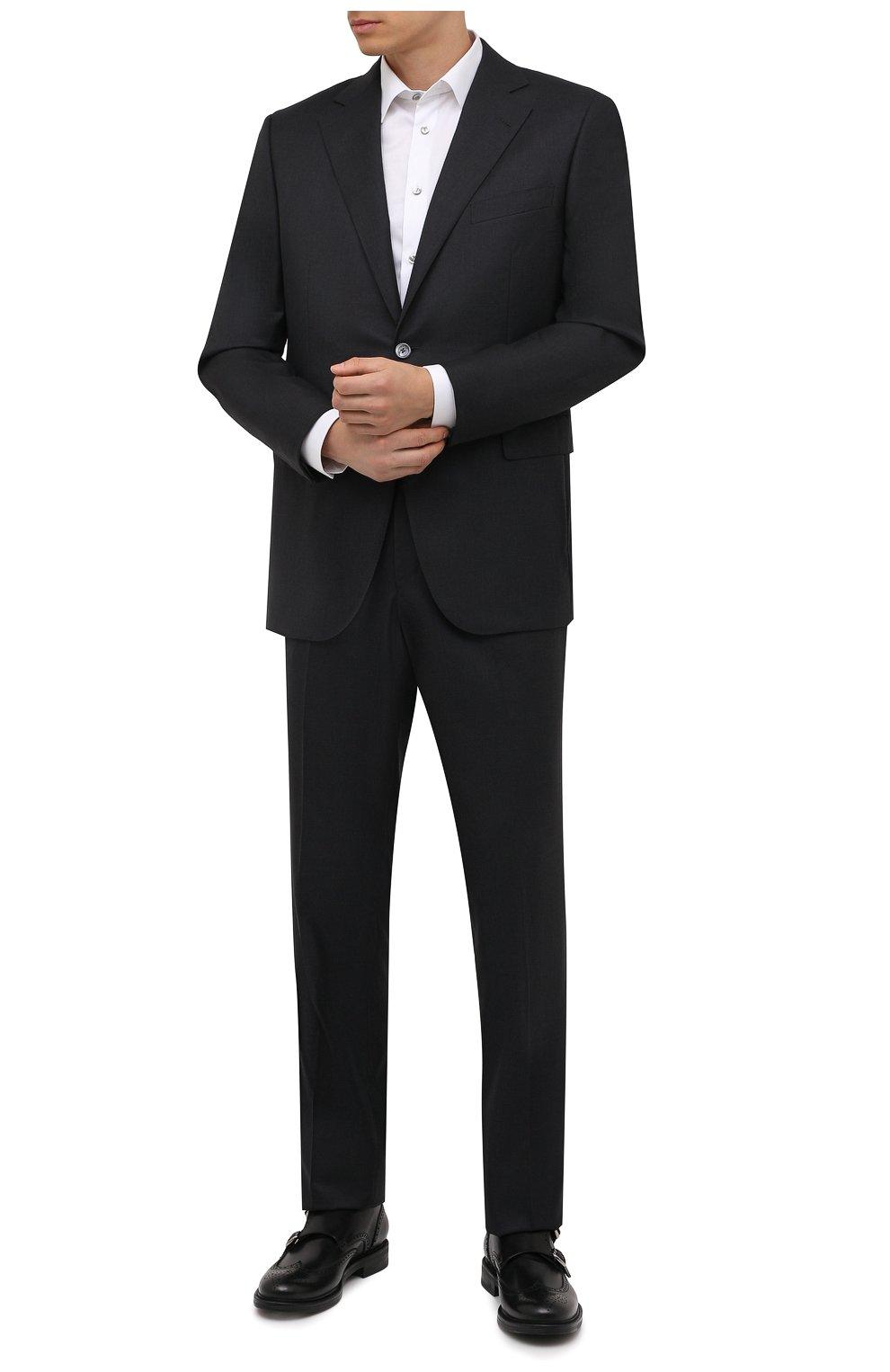 Мужская хлопковая сорочка ETON белого цвета, арт. 1000 02567   Фото 2 (Манжеты: На пуговицах; Воротник: Кент; Рукава: Длинные; Рубашки М: Super Slim Fit; Материал внешний: Хлопок; Стили: Классический; Случай: Формальный; Принт: Однотонные)