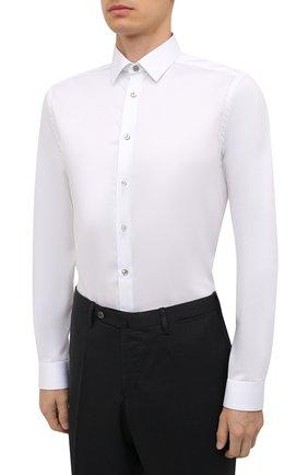 Мужская хлопковая сорочка ETON белого цвета, арт. 1000 02567   Фото 3 (Манжеты: На пуговицах; Воротник: Кент; Рукава: Длинные; Рубашки М: Super Slim Fit; Материал внешний: Хлопок; Стили: Классический; Случай: Формальный; Принт: Однотонные)
