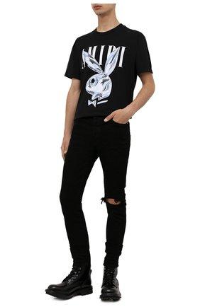 Мужские джинсы AMIRI черного цвета, арт. XMD004-001 | Фото 2 (Материал внешний: Хлопок; Длина (брюки, джинсы): Стандартные; Кросс-КТ: Деним; Силуэт М (брюки): Узкие; Стили: Гранж)