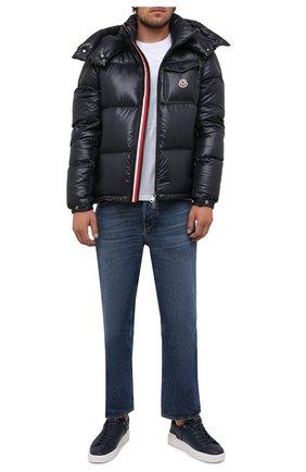 Мужская пуховая куртка montbeliard MONCLER темно-синего цвета, арт. G2-091-1A001-42-68950 | Фото 2 (Материал подклада: Синтетический материал; Длина (верхняя одежда): Короткие; Рукава: Длинные; Материал утеплителя: Пух и перо; Материал внешний: Синтетический материал; Кросс-КТ: Куртка; Мужское Кросс-КТ: пуховик-короткий; Стили: Кэжуэл)