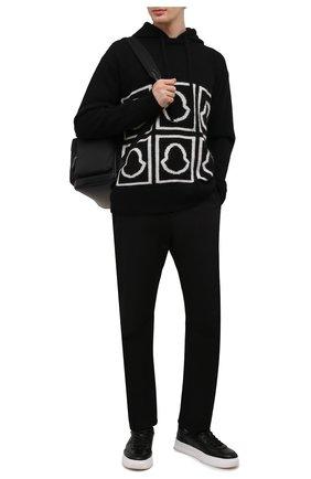 Мужской худи MONCLER черного цвета, арт. G2-091-9C000-13-M1240 | Фото 2 (Длина (для топов): Стандартные; Материал внешний: Шерсть; Рукава: Длинные; Принт: С принтом; Стили: Кэжуэл; Мужское Кросс-КТ: Худи-одежда)