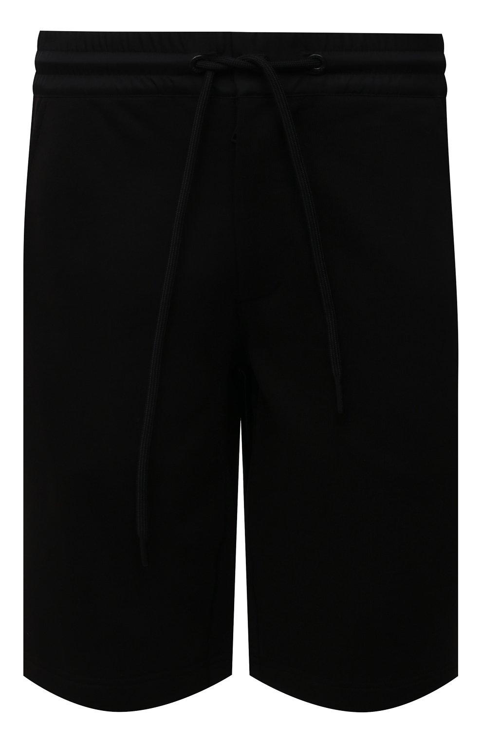 Мужские хлопковые шорты MONCLER черного цвета, арт. G2-091-8H000-12-809KR | Фото 1 (Длина Шорты М: До колена; Принт: Без принта; Кросс-КТ: Трикотаж; Материал внешний: Хлопок; Стили: Спорт-шик)