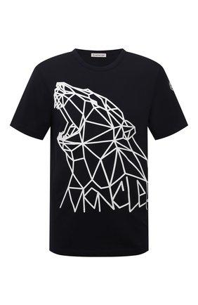 Мужская хлопковая футболка MONCLER темно-синего цвета, арт. G2-091-8C000-02-8390T | Фото 1 (Длина (для топов): Стандартные; Материал внешний: Хлопок; Рукава: Короткие; Принт: С принтом; Стили: Кэжуэл)