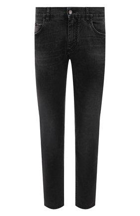 Мужские джинсы DOLCE & GABBANA темно-серого цвета, арт. GYJCCD/G8C07 | Фото 1 (Длина (брюки, джинсы): Стандартные; Материал внешний: Хлопок; Кросс-КТ: Деним; Силуэт М (брюки): Прямые; Стили: Кэжуэл; Детали: Потертости)
