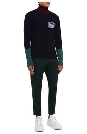 Мужской шерстяная водолазка DOLCE & GABBANA темно-синего цвета, арт. GXG18Z/JBVF0   Фото 2 (Материал внешний: Шерсть; Рукава: Длинные; Длина (для топов): Стандартные; Мужское Кросс-КТ: Водолазка-одежда; Принт: С принтом; Стили: Кэжуэл)