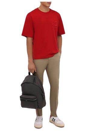 Мужские хлопковые брюки DOLCE & GABBANA бежевого цвета, арт. GWTWEZ/FUFJR | Фото 2 (Материал внешний: Хлопок; Длина (брюки, джинсы): Стандартные; Случай: Повседневный; Силуэт М (брюки): Чиносы; Стили: Кэжуэл)