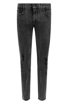 Мужские джинсы DOLCE & GABBANA серого цвета, арт. GWNDCD/G8EG8 | Фото 1 (Длина (брюки, джинсы): Стандартные; Материал внешний: Хлопок; Кросс-КТ: Деним; Силуэт М (брюки): Прямые; Стили: Кэжуэл; Детали: Потертости)