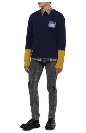 Мужские джинсы DOLCE & GABBANA серого цвета, арт. GWNDCD/G8EG8 | Фото 2 (Длина (брюки, джинсы): Стандартные; Материал внешний: Хлопок; Кросс-КТ: Деним; Силуэт М (брюки): Прямые; Стили: Кэжуэл; Детали: Потертости)