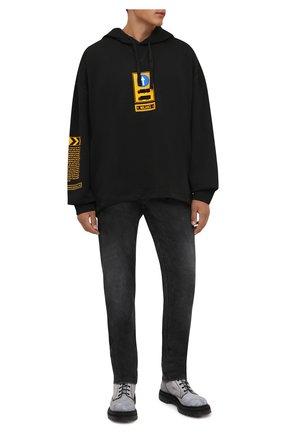 Мужской хлопковое худи DOLCE & GABBANA черного цвета, арт. G9VR4T/FU7DU   Фото 2 (Длина (для топов): Стандартные; Материал внешний: Хлопок; Рукава: Длинные; Мужское Кросс-КТ: Худи-одежда; Принт: С принтом; Стили: Спорт-шик)