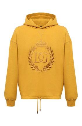 Мужской хлопковое худи DOLCE & GABBANA желтого цвета, арт. G9TI1Z/FU77G | Фото 1 (Длина (для топов): Стандартные; Рукава: Длинные; Материал внешний: Хлопок; Мужское Кросс-КТ: Худи-одежда; Принт: С принтом; Стили: Спорт-шик)