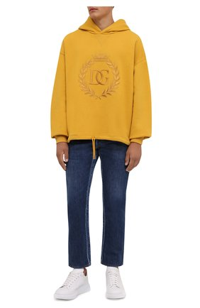 Мужской хлопковое худи DOLCE & GABBANA желтого цвета, арт. G9TI1Z/FU77G | Фото 2 (Длина (для топов): Стандартные; Рукава: Длинные; Материал внешний: Хлопок; Мужское Кросс-КТ: Худи-одежда; Принт: С принтом; Стили: Спорт-шик)