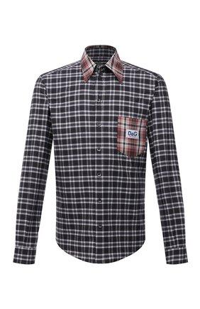 Мужская хлопковая рубашка DOLCE & GABBANA черно-белого цвета, арт. G5IY3Z/FQ5FG | Фото 1 (Рукава: Длинные; Материал внешний: Хлопок; Длина (для топов): Стандартные; Случай: Повседневный; Манжеты: На пуговицах; Принт: Клетка; Воротник: Кент; Стили: Гранж)