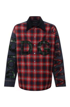 Мужская комбинированная рубашка DOLCE & GABBANA красного цвета, арт. G5IW7Z/G8EJ6 | Фото 1 (Рукава: Длинные; Материал внешний: Шерсть, Хлопок; Длина (для топов): Стандартные; Случай: Повседневный; Кросс-КТ: Деним; Манжеты: На кнопках; Принт: Клетка; Воротник: Кент; Стили: Гранж)
