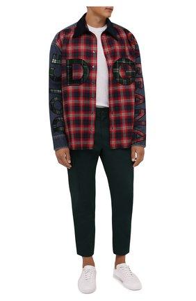 Мужская комбинированная рубашка DOLCE & GABBANA красного цвета, арт. G5IW7Z/G8EJ6 | Фото 2 (Рукава: Длинные; Материал внешний: Шерсть, Хлопок; Длина (для топов): Стандартные; Случай: Повседневный; Кросс-КТ: Деним; Манжеты: На кнопках; Принт: Клетка; Воротник: Кент; Стили: Гранж)