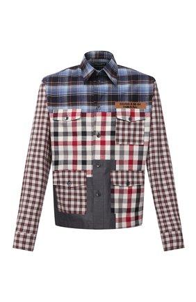 Мужская хлопковая рубашка DOLCE & GABBANA разноцветного цвета, арт. G5IV2T/GES21 | Фото 1 (Длина (для топов): Стандартные; Рукава: Длинные; Материал внешний: Хлопок; Случай: Повседневный; Манжеты: На пуговицах; Принт: Клетка; Воротник: Кент; Стили: Гранж)