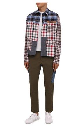 Мужская хлопковая рубашка DOLCE & GABBANA разноцветного цвета, арт. G5IV2T/GES21 | Фото 2 (Длина (для топов): Стандартные; Рукава: Длинные; Материал внешний: Хлопок; Случай: Повседневный; Манжеты: На пуговицах; Принт: Клетка; Воротник: Кент; Стили: Гранж)