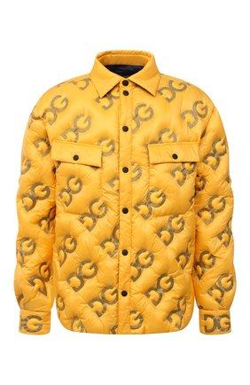 Мужская пуховая куртка DOLCE & GABBANA желтого цвета, арт. G9VW7T/GEU32 | Фото 1 (Рукава: Длинные; Материал внешний: Синтетический материал; Материал подклада: Синтетический материал; Материал утеплителя: Пух и перо; Длина (верхняя одежда): До середины бедра; Кросс-КТ: Куртка; Мужское Кросс-КТ: пуховик-короткий; Стили: Гранж)