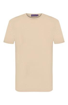 Мужская хлопковая футболка RALPH LAUREN бежевого цвета, арт. 790508153 | Фото 1 (Материал внешний: Хлопок; Принт: Без принта; Рукава: Короткие; Стили: Кэжуэл; Длина (для топов): Стандартные)