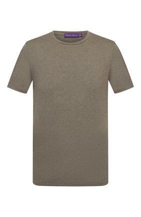 Мужская хлопковая футболка RALPH LAUREN хаки цвета, арт. 790508153 | Фото 1 (Материал внешний: Хлопок; Принт: Без принта; Рукава: Короткие; Стили: Кэжуэл; Длина (для топов): Стандартные)