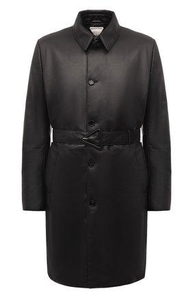 Мужской кожаное пальто BOTTEGA VENETA черного цвета, арт. 668634/V16H0 | Фото 1 (Материал подклада: Хлопок; Мужское Кросс-КТ: пальто-верхняя одежда; Стили: Минимализм; Рукава: Длинные; Длина (верхняя одежда): До колена)