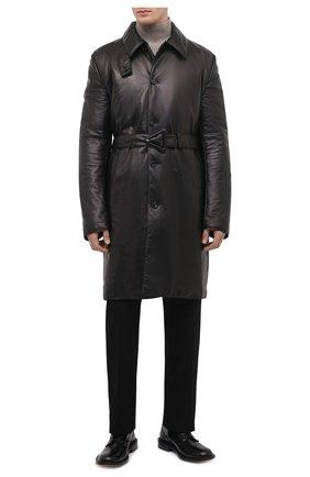 Мужской кожаное пальто BOTTEGA VENETA черного цвета, арт. 668634/V16H0 | Фото 2 (Материал подклада: Хлопок; Мужское Кросс-КТ: пальто-верхняя одежда; Стили: Минимализм; Рукава: Длинные; Длина (верхняя одежда): До колена)