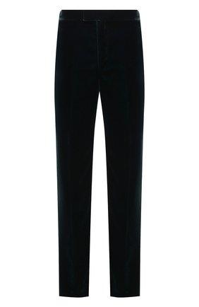 Мужские брюки BOTTEGA VENETA темно-зеленого цвета, арт. 666244/V0XD0 | Фото 1 (Материал подклада: Вискоза; Материал внешний: Купро, Вискоза; Длина (брюки, джинсы): Стандартные; Случай: Повседневный; Стили: Минимализм)