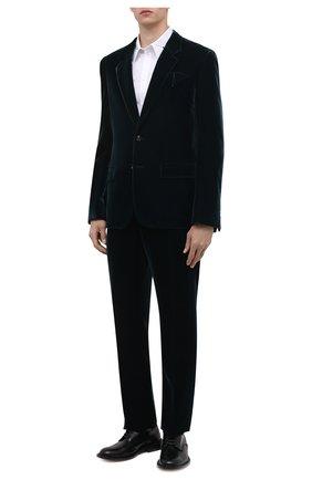 Мужские брюки BOTTEGA VENETA темно-зеленого цвета, арт. 666244/V0XD0 | Фото 2 (Материал подклада: Вискоза; Материал внешний: Купро, Вискоза; Длина (брюки, джинсы): Стандартные; Случай: Повседневный; Стили: Минимализм)