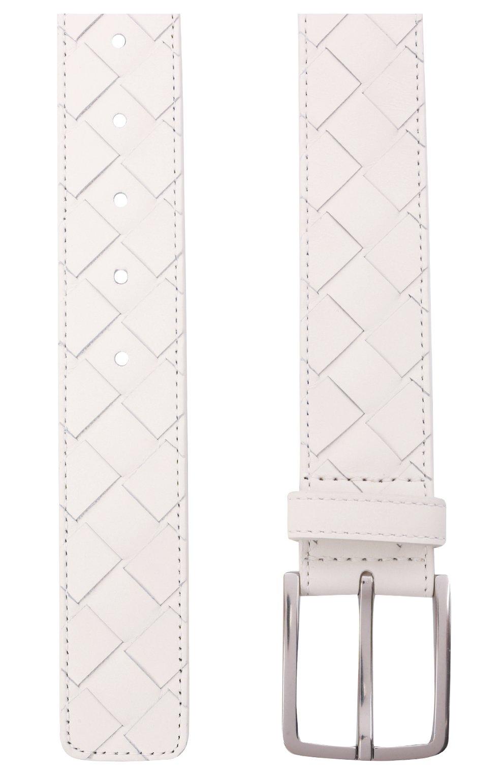 Мужской кожаный ремень BOTTEGA VENETA белого цвета, арт. 609182/VCPQ3 | Фото 3 (Случай: Повседневный)