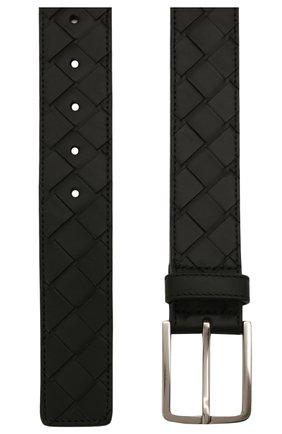 Мужской кожаный ремень BOTTEGA VENETA черного цвета, арт. 609182/VCPQ3   Фото 3 (Случай: Повседневный)