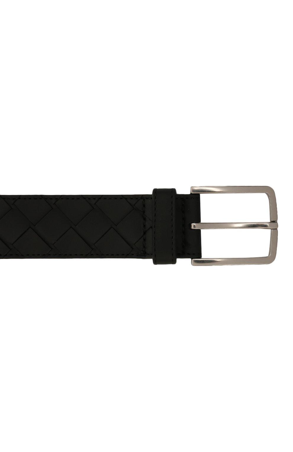 Мужской кожаный ремень BOTTEGA VENETA черного цвета, арт. 609182/VCPQ3   Фото 4 (Случай: Повседневный)