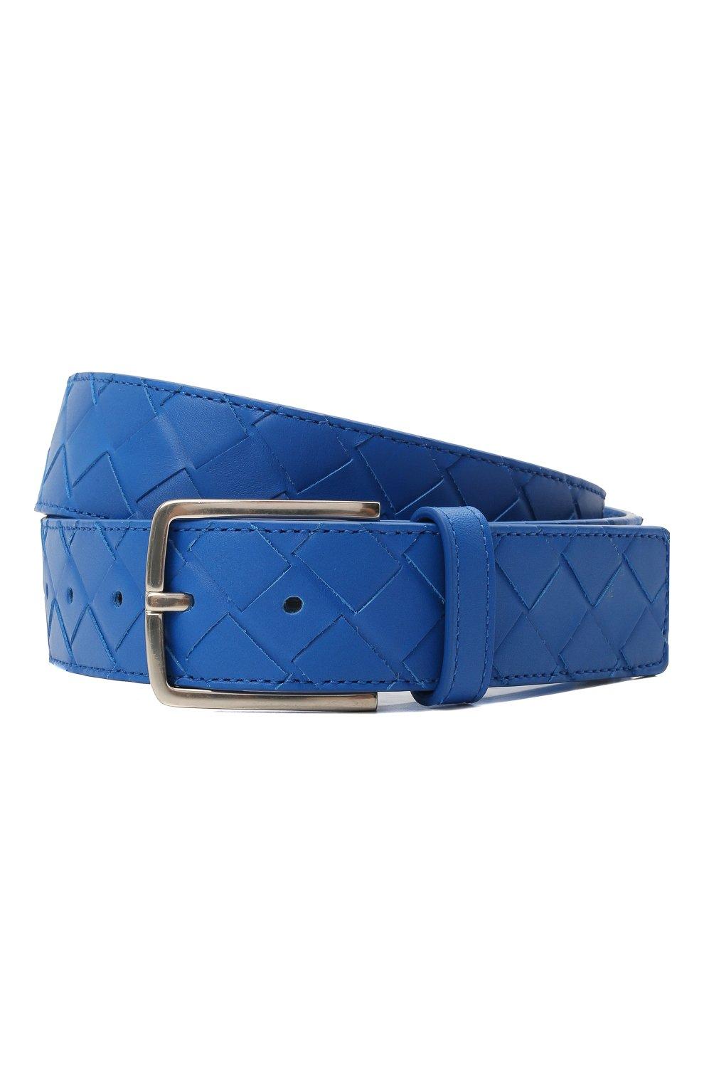 Мужской кожаный ремень BOTTEGA VENETA синего цвета, арт. 609182/VCPQ3   Фото 1 (Случай: Повседневный)
