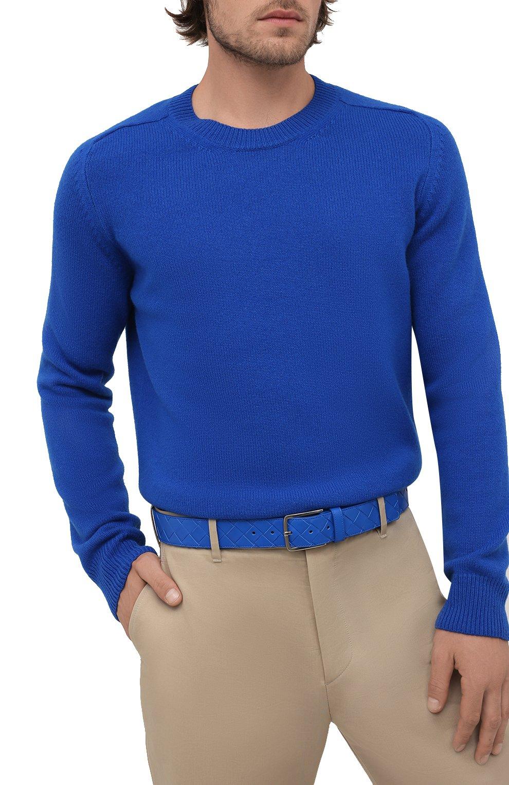 Мужской кожаный ремень BOTTEGA VENETA синего цвета, арт. 609182/VCPQ3   Фото 2 (Случай: Повседневный)