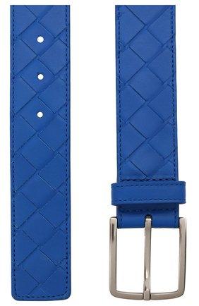 Мужской кожаный ремень BOTTEGA VENETA синего цвета, арт. 609182/VCPQ3   Фото 3 (Случай: Повседневный)