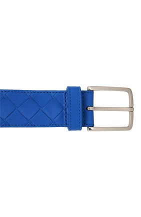 Мужской кожаный ремень BOTTEGA VENETA синего цвета, арт. 609182/VCPQ3   Фото 4 (Случай: Повседневный)