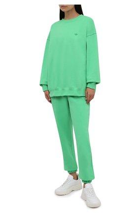 Женский хлопковый свитшот ADIDAS ORIGINALS зеленого цвета, арт. H11392 | Фото 2