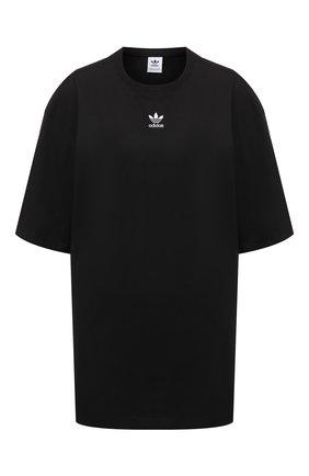 Женская хлопковая футболка ADIDAS ORIGINALS черного цвета, арт. H06649 | Фото 1