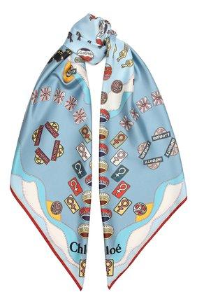 Женский шелковый платок CHLOÉ светло-голубого цвета, арт. CHC21AT089SLK | Фото 1