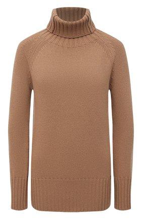 Женский свитер из шерсти и кашемира MANZONI24 бежевого цвета, арт. 21M563-X/38-46   Фото 1