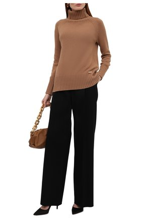 Женский свитер из шерсти и кашемира MANZONI24 бежевого цвета, арт. 21M563-X/38-46   Фото 2