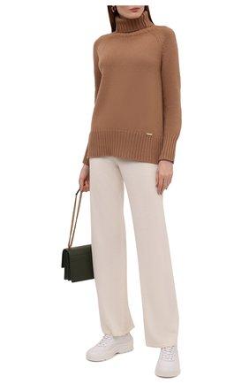 Женские брюки из шерсти и кашемира MANZONI24 кремвого цвета, арт. 21M363-X/38-46 | Фото 2 (Материал внешний: Шерсть, Кашемир; Длина (брюки, джинсы): Стандартные; Женское Кросс-КТ: Брюки-одежда; Силуэт Ж (брюки и джинсы): Прямые; Стили: Спорт-шик)