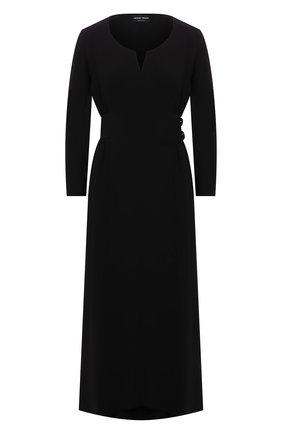 Женское шелковое платье GIORGIO ARMANI черного цвета, арт. 1WHVA08R/T0010   Фото 1