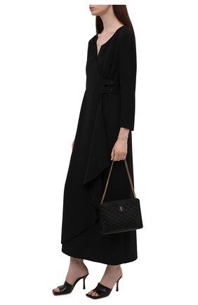 Женское шелковое платье GIORGIO ARMANI черного цвета, арт. 1WHVA08R/T0010   Фото 2