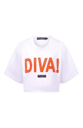 Женская хлопковая футболка DOLCE & GABBANA белого цвета, арт. F8058Z/HU7H8   Фото 1