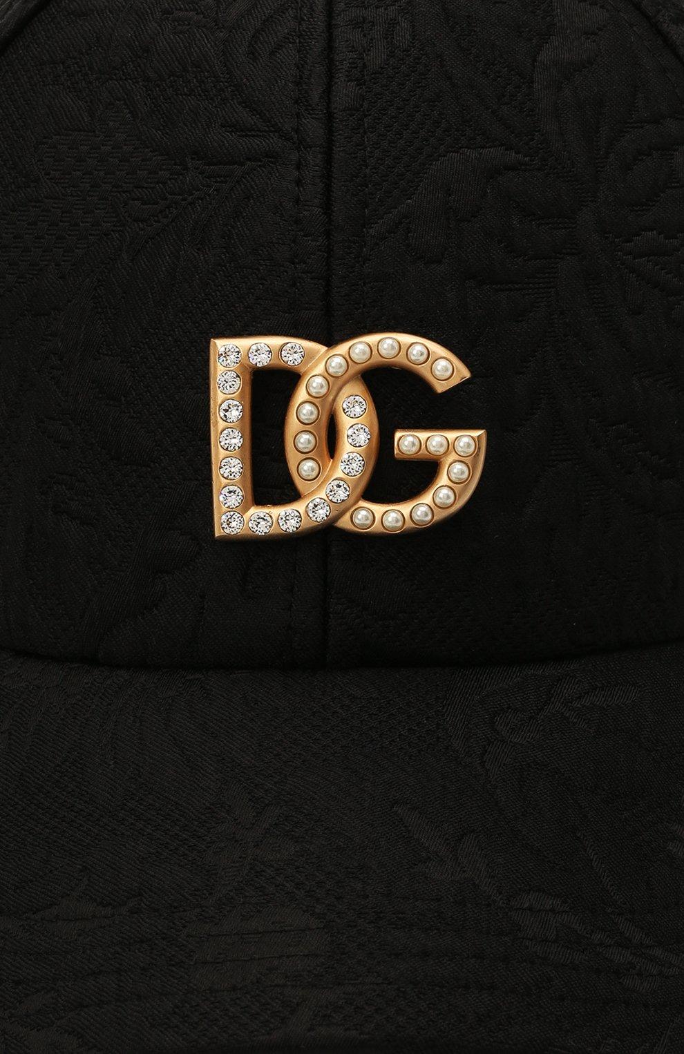 Женская бейсболка из хлопка и шелка DOLCE & GABBANA черного цвета, арт. FH590Z/FJMPG   Фото 4 (Материал: Текстиль, Хлопок)