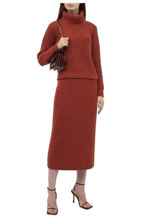 Женская кашемировая юбка LORO PIANA  цвета, арт. FAL7531 | Фото 2 (Материал внешний: Кашемир, Шерсть; Женское Кросс-КТ: Юбка-одежда; Длина Ж (юбки, платья, шорты): Миди; Стили: Кэжуэл)